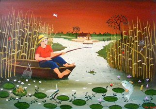 Mihai Dascalu; Fishing, 2007, Original Painting Oil, 65 x 90 cm. Artwork description: 241  fishing ...