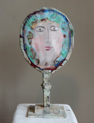 Mihail Simeonov; Thr Mirror, 1973, Original Sculpture Paper, 17 x 22 inches. Artwork description: 241  beauty, portrait, head, pastel, construction      ...
