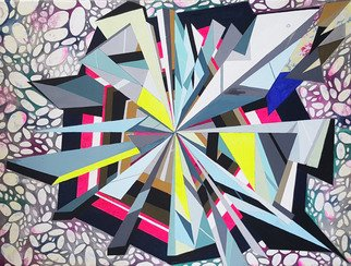 Mijal Zachs; Implosion, 2017, Original Painting Acrylic, 90 x 120 cm. Artwork description: 241 Abstract, colors, geometrical...
