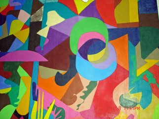 Mike Garibay; American Dreams, 2004, Original Pastel Oil, 64 x 96 inches. Artwork description: 241  Vivid shaped colors in cubism style   oil pastel on canvas. ...