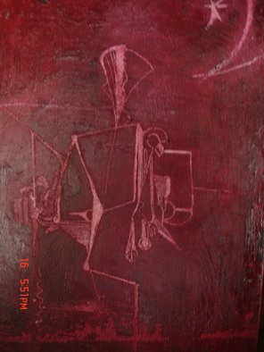 Mike Garibay; Christ Coming, 2005, Original Pastel Oil, 8 x 10 inches. Artwork description: 241  mono tone oil pastel painting in dark red depicting un- natural raw shapes.       ...