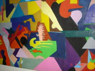 Mike Garibay; Last  Supper Mystical Moment , 2009, Original Pastel Oil, 40 x 64 inches. Artwork description: 241  Bright bold colors and shapes juxaposed against each other and not in compliment to each other as many times people to religion.  ...