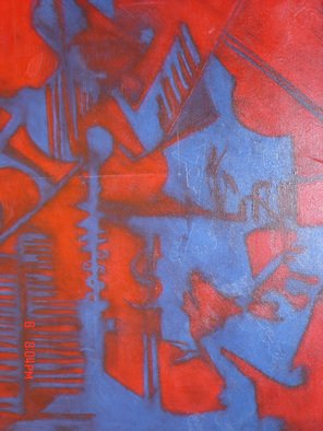 Mike Garibay; Night  Angeles, 2004, Original Pastel Oil, 24 x 30 inches. Artwork description: 241  Two tone abstract shapes in oil pastel and etching shapes interwinding.  ...