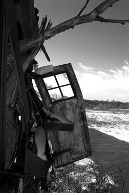Michael Gatch; Door Ajar, 2008, Original Photography Black and White, 8 x 10 inches. Artwork description: 241  A door pried open by the forces of nature. ...