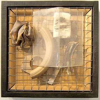 Michael Gosbee; Ambiguous Saturation, 2010, Original Assemblage, 18 x 18 inches. Artwork description: 241   abstract collage ...