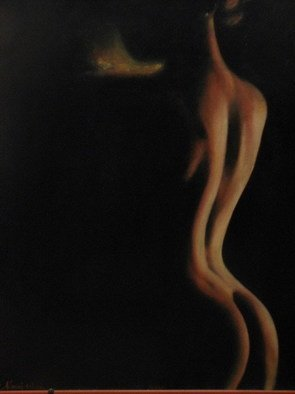 Sinisa Mihajlovic; A Woman From Shadow, 2004, Original Painting Oil, 50 x 75 cm. Artwork description: 241  THIS IS NICE EROTIC PICTURE hipperrealism....