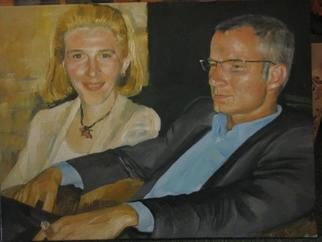 Sinisa Mihajlovic; Portret, 2007, Original Painting Oil, 70 x 50 cm. Artwork description: 241  portrait of a couple. ordered painting. NOT FOR SALE because it is all ready sold . . . i put the picture to show my skills and some previous commission works...