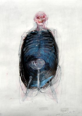Milija Stojanovic; anatomy of pain, 2008, Original Collage, 25 x 35 cm. Artwork description: 241 Anatomy of pain, 25x35cmcollage acrylic and X- ray plastic...