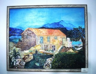 Milica Markovic Rajcevic; A Summer Day In Tivat, 2017, Original Painting Oil, 100 x 80 cm. Artwork description: 241 An old whole, old stone house in the village of Kakrc, in Tivat...