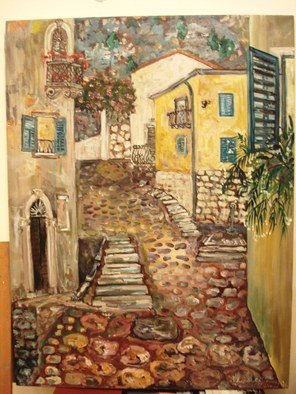 Milica Markovic Rajcevic; Kotor Old Town, 2017, Original Painting Oil, 55 x 73 cm. Artwork description: 241 Scene from old town, Kotor. Last night, last year...