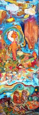 Milica Markovic Rajcevic; Shi, 2011, Original Painting Oil, 60 x 170 cm. Artwork description: 241 An abstract description of the angels, who guard us and are here beside us...