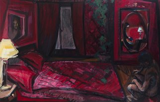 Mima Stajkovic; Red Time, 2011, Original Painting Acrylic, 110 x 70 cm. Artwork description: 241  red bedroom, light, nude, male, expectation, red light ...