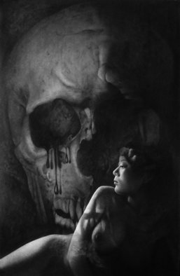 Minh Hang; Nude With Skull, 2009, Original Drawing Charcoal, 22 x 34 inches.
