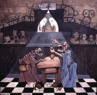 Michael Irrizarypagan; Poison The Chicken, 2001, Original Painting Oil, 36 x 36 inches. Artwork description: 241  courtroom scene, surreal ...