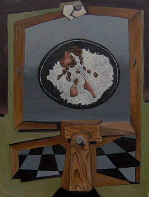 Michael Irrizarypagan; Rice And Beans, 2011, Original Painting Oil, 30 x 24 inches. Artwork description: 241   political, surrealismstill life, surrealism              ...