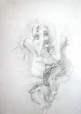 Mirko Sevic; Stillness, Self Potrait, 2001, Original Drawing Pencil, 500 x 700 mm. Artwork description: 241  stillnes ...