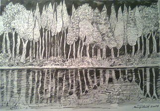 Miodrag Misko Petrovic; Lake Like A Mirror, 2014, Original Drawing Pencil, 30 x 42 cm. Artwork description: 241  Wouds to look at oneself in the lake like a in the mirror            ...