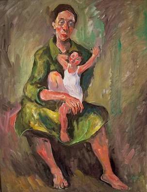 Hari Mitrushi; Mother And Child, 2002, Original Painting Oil, 80 x 60 cm. Artwork description: 241  This is a painting who I made when our first child was born. ...