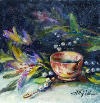 Mitzi Lai; A Perfect Agate Cup, 2011, Original Painting Oil, 6 x 6 inches. Artwork description: 241     Oil Painting, still life, cup, pearl necklace, Mitzi Lai, cup, blue flower, mother' s day, gift,  ...