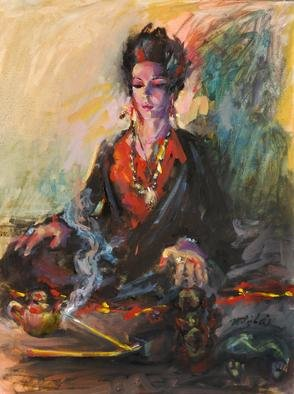 Mitzi Lai; Hummmmm, 2012, Original Painting Oil, 16 x 20 inches. Artwork description: 241      Oil Painting, female, praying, blessing, religious, Buddhism, Buddha, peace, Mitzi Lai, moody painting, illusion, girl sitting   ...