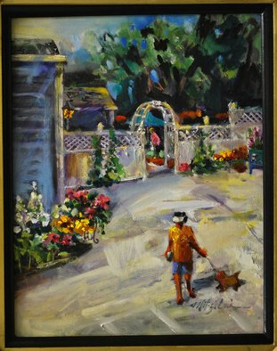 Mitzi Lai; Time For A Walk, 2011, Original Painting Oil, 11 x 14 inches. Artwork description: 241   Oil Painting, plein air, landscape, Mitzi Lai, scene, dog, walking, home, house, summer, figure, garden ...