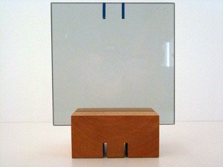 Mrs. Mathew Sumich; Glass 2 with lines, 2009, Original Sculpture Glass, 5 x 5 inches. Artwork description: 241     smoke glass with applied color adhesive, table top suitable   ...