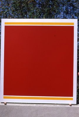 Mrs. Mathew Sumich; Red Square and Gold Rectangles, 1983, Original Painting Oil, 5 x 5 feet. Artwork description: 241 precision and crispness of line define this bold and inviting minimal painting...
