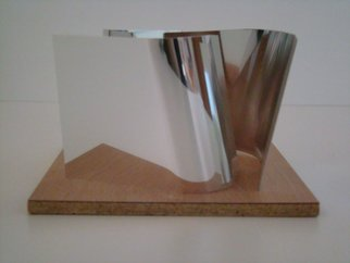 Mrs. Mathew Sumich; stainless steel 1, 2009, Original Sculpture Steel, 18 x  inches. Artwork description: 241  Stainless Steel on wood base, table top size mockette ...