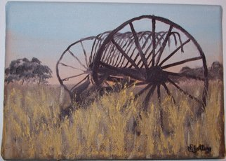 Michael Slattery; Till Morning, 2008, Original Painting Oil, 7 x 5 inches. Artwork description: 241  An old piece of farm equipment on my aunt's ranch early in the morning. ...