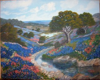 Michael Slattery; Valley So Blue, 2008, Original Painting Oil, 20 x 16 inches. Artwork description: 241  Bluebonnets in a valley in the hill country of Texas. ...