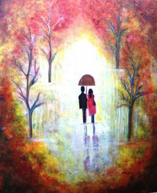 Manjiri Kanvinde; AUTUMN ROMANCE, 2008, Original Painting Acrylic, 24 x 30 inches. Artwork description: 241  Acrylic painting of a romantic couple taking a stroll in the park.Painted in abstract style the colours are rich and warm.Its huge and impressive!Medium: Acrylic paint on gallery wrapped canvas. Sides are painted and so no framing required.Actual colours look brighter and pleasant ...