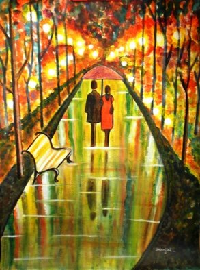 Manjiri Kanvinde; A Rainy Day III, 2010, Original Painting Acrylic, 18 x 24 inches. Artwork description: 241  This is the latest artwork from a series of my romantic paintings titled' A Rainy Day' . All the earlier paintings in this series are sold.This is a romantic painting of a couple walking in the park.Title~ A RAINY DAY IIIMedium~ Acrylic on ...