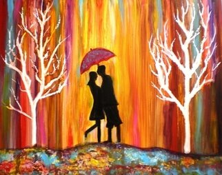 Manjiri Kanvinde; Romance In The Rain II, 2012, Original Painting Acrylic, 14 x 11 inches. Artwork description: 241     Title~~ Romance in the Rain II. Medium~~ Acrylic on revolutionary YUPO Paper. Size~~ 14