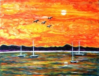 Manjiri Kanvinde; SUNSET GLORY, 2008, Original Painting Acrylic, 11 x 14 inches. Artwork description: 241  Acrylic painting of a glorious sunset. The colours are bright and vibrant.Medium: Acrylic on YUPO PaperSize: 11