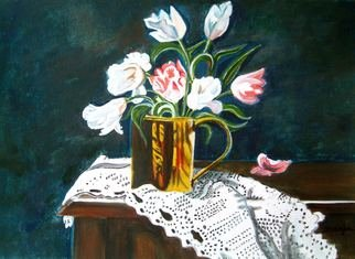 Manjiri Kanvinde; Still Life Tulips, 2008, Original Painting Acrylic, 12 x 16 inches. Artwork description: 241   his is a original painting not a print. Gorgeous Tulips in a brass jar delicately placed on a lace cloth.Size: 11 3/ 4