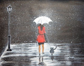 Manjiri Kanvinde; Stroll In The Rain, 2014, Original Painting Acrylic, 20 x 16 inches. Artwork description: 241 A black and white painting of a lady walking her dog in the rain. The red dress of the lady adds a unique touch to this painting. Will be a wonderful addition to any dog lovers collection. Medium: Acrylic on canvas Size: 20 x 16 inches Tracking number ...
