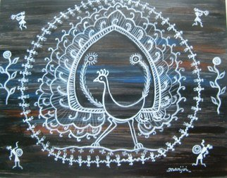 Manjiri Kanvinde; Warli Peacock Painting, 2012, Original Painting Acrylic, 14 x 11 inches. Artwork description: 241    Warli folk paintings are the painting of Maharashtra, India. The word
