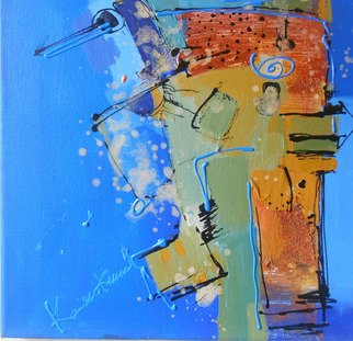 Kaiser Kamal; Blue With Metal Brown , 2012, Original Mixed Media, 12 x 12 inches. Artwork description: 241             mixed media , contemporary, experimental on display @ think Coffee Gallary248 Marcer st . Ny             ...