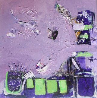Kaiser Kamal; Puple2, 2012, Original Mixed Media, 12 x 12 inches. Artwork description: 241                 mixed media , contemporary, experimental on display @ think Coffee Gallary248 Marcer st . Ny                 ...