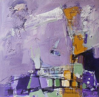 Kaiser Kamal; Purple1, 2012, Original Mixed Media, 12 x 12 inches. Artwork description: 241                mixed media , contemporary, experimental on display @ think Coffee Gallary248 Marcer st . Ny                ...