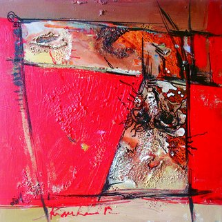 Kaiser Kamal; Red1, 2012, Original Mixed Media, 12 x 12 inches. Artwork description: 241           mixed media , contemporary, experimental on display @ think Coffee Gallary248 Marcer st . Ny           ...