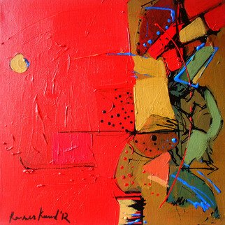 Kaiser Kamal; Red Cloud Yellow Moon , 2012, Original Mixed Media, 12 x 12 inches. Artwork description: 241            mixed media , contemporary, experimental on display @ think Coffee Gallary248 Marcer st . Ny            ...
