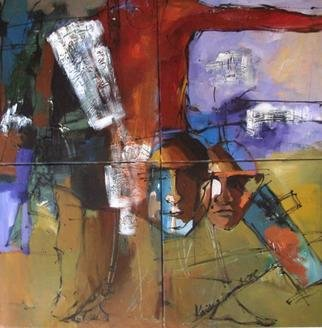 Kaiser Kamal; Couple And Ordinary Relation , 2009, Original Mixed Media, 36 x 36 inches.