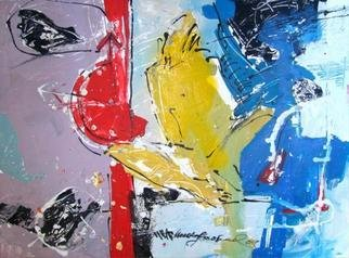 Kaiser Kamal; Yellow Figure And Red Fun, 2009, Original Mixed Media, 20 x 14.5 inches.