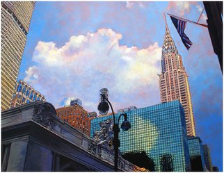 Michael Todd Longhofer; Chrysler Kisses Colors, 2007, Original Painting Oil, 30 x 40 inches. Artwork description: 241  The needle of the Chrysler building kisses the United States Flag. ...