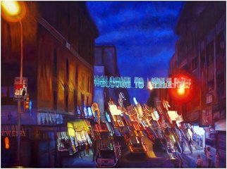 Michael Todd Longhofer; Warped Turf, 2009, Original Painting Oil, 48 x 36 inches. Artwork description: 241  Little Italy in New York Distortion SeriesMafia Parking Only baby! ...