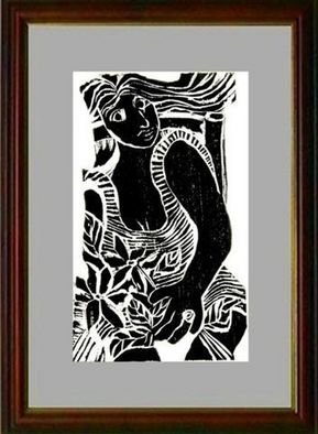 Maria Lucia Pacheco; Mulher Com Anel, 2005, Original Printmaking Woodcut, 20 x 30 inches.