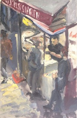 Michelle Mendez; Brasserie, Paris, 1990, Original Painting Oil, 7.5 x 11 inches. Artwork description: 241  Scene from Rue St. Denis, Paris night time, cityscape, gestural, figure, study in oil on primed Rives BFK paper mounted on masonite, stripping stained mahogany, ready to hang   ...