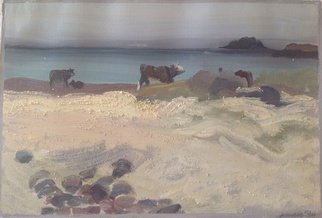 Michelle Mendez; Cows Grazing On Seaweed, 1990, Original Painting Oil, 10 x 8 inches. Artwork description: 241   Landscape, Isle of Iona, Scotland, Oil on primed Rives BFK printmaking paper, painted at the beach with sand added to pigment, matted  ...