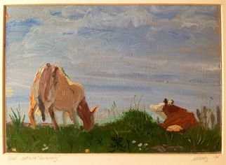 Michelle Mendez; Cpws Grazing Iona, 1994, Original Painting Oil, 11 x 8 inches. Artwork description: 241     Landscape   Isle of Iona, Scotland  oil on primed Rives BFK paper, matted       ...